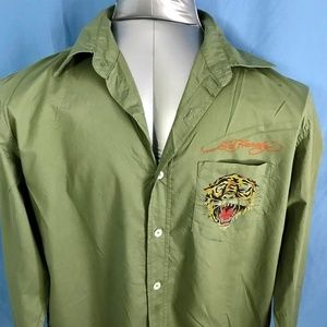 Ed Hardy Embroidered Green Tiger  Shirt Size Med